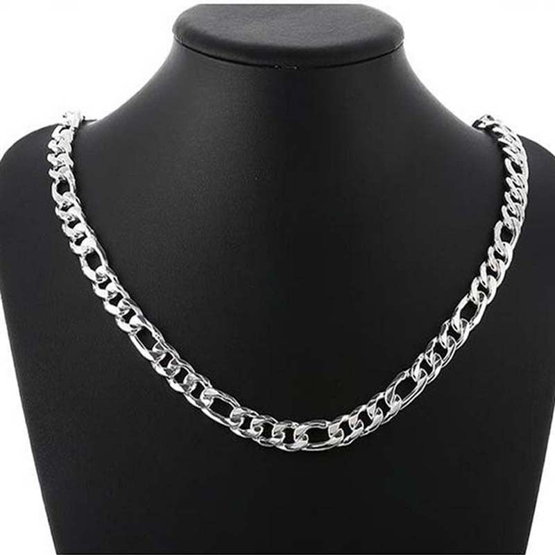wholesale 10mm wide Figaro Men's Necklace 18inch-24inch can be choose, silver plated 10mm men chain necklace,fashion men jewlery