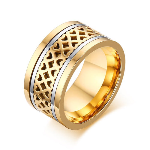Mprainbow Luxury Mens Rings Stainless Steel Heart Spinner Ring Men Gold Plated Wedding Band Fashion Jewelry 2017 anel masculino