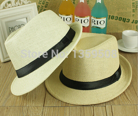 2b02413ea9ba4 Free Shipping 2015 New Plain Color Panama Straw Hats Fedora Soft Vogue Men  Women Stingy Brim