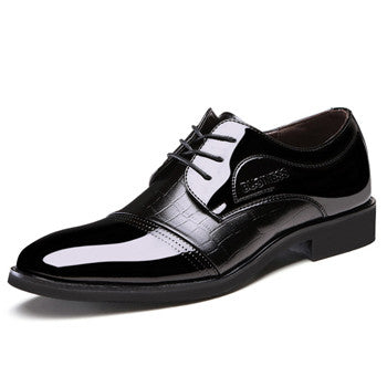 New 2017 black shiny oxfords patent leather shoes for men lace up flats formal office shoe mens alligator shoes