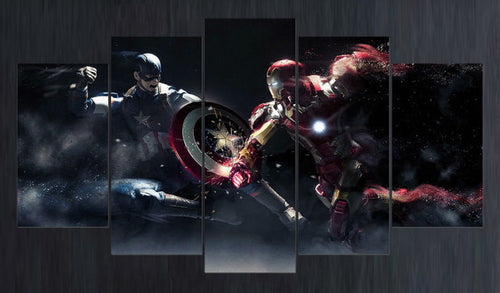 New 5 piece canvas art HD Captain America vs Iron Man movie poster For Kids decoration for home print Painting on canvas\C-261