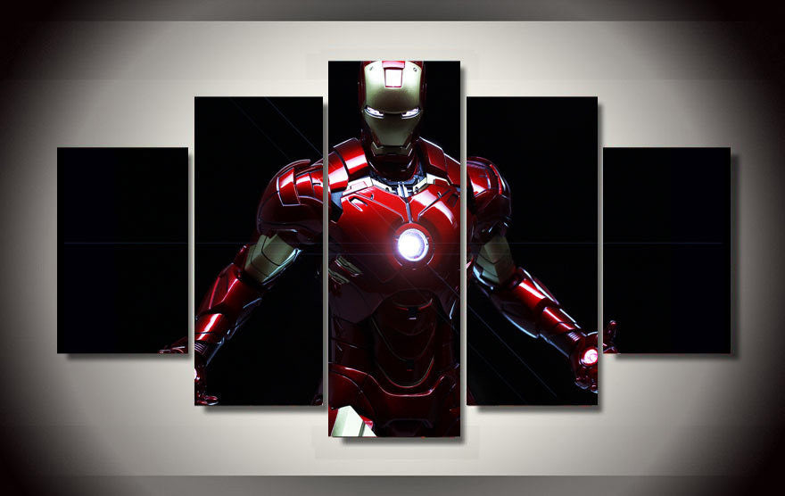 Modular Wall Paintings Unframed Iron Man Movie Poster 5 Piece Modern Painting on Canvas Pictures For Living Room Cuadros Decor