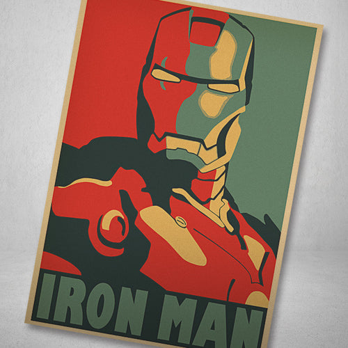 Home Decorative Iron Man Movie Poster Kraft Paper Painting Sticker Printed Draw Hang a Picture To Retro Painting Interior Core