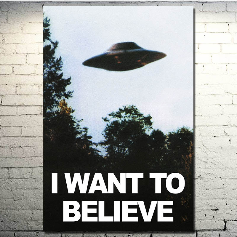 I WANT TO BELIEVE - The X Files Art Silk Poster Print 13x20 24x36 inches UFO TV Series Pictures for Living Room Decor 001