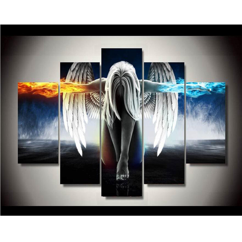 5 piece Canvas Printings Angel Girls Anime Demons Painting Wall Art Home Decoration Panel Poster Print Canvas unframe or framed
