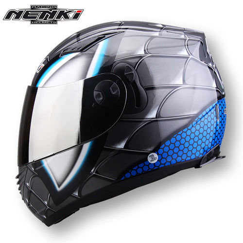 NENKI Motorcycle Full Face Helmet Men Womne Street Motor Scooter Motorbike Riding Racing Helmet Dual Visor Sun Shield Lens