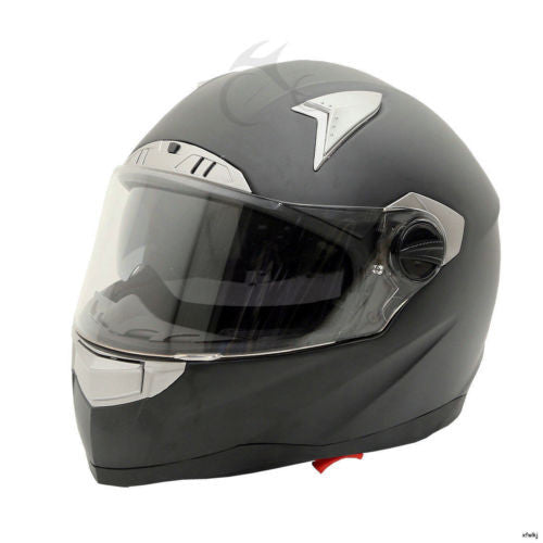 Matte Black Dual Visor Full Face Street Bike Motorcycle Helmet DOT M/L/XL/XXL