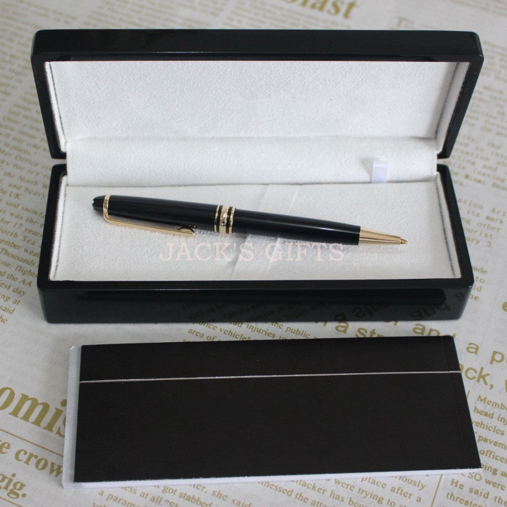 Blance Rollerball Pen Luxury M B Brand Pen Silver & Gold Clip Black Roller Ball High Quality School Supplies Beautiful Wood Box