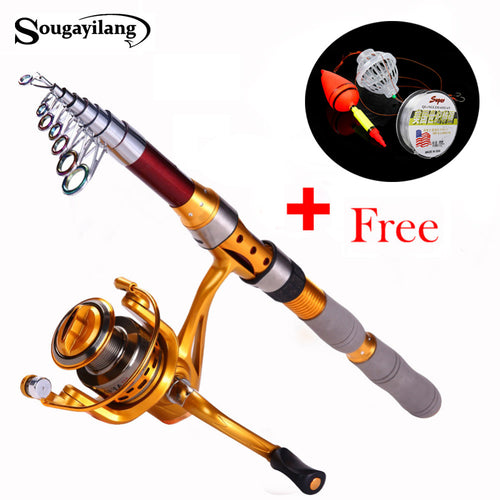 Sougayilang 1.8-3.0m Fishing Rod and Reel Olta Carbon Fiber Telescopic Spinning Rods Feeder Carp Fishing Rod with 14BB Reel Set