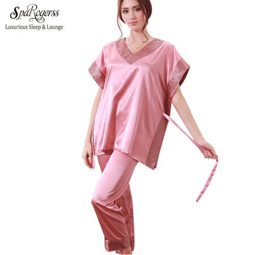 Ship From RU Fashion Women Pajamas Pants Set 2017 Satin Lady Pijama Faux Silk Pajama Sets Sleep Lounge Pyjamas For Women RU8108