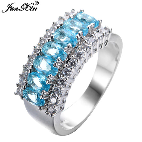 JUNXIN Size 7/8/9/10/11 10KT White Gold Filled Finger Rings Light Blue Luxury Ring Fashion Jewelry With Gift Box RW0070