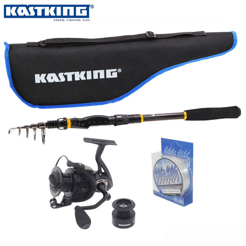 KastKing 2017 Promotion 2.1m Telescopic Carbon Fishing Rod with 11BB Spinning Fishing Reel 100M Copolymer Line Fishing Rod Combo