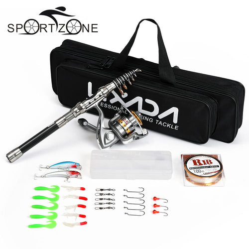 Lixada Telescopic Fishing Rod Reel Combo Full Kit Spinning Fishing Reel Pole Set with Fishing Line Lures Hooks Carrier Bag Case