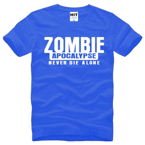 Zombie Apocalypse Never Die Alone Printed T Shirts Men Summer Style Short Sleeve O-Neck Cotton Men's T-Shirt Male Cool Top Tees