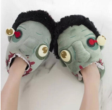 Male and female zombies fluffy slippers geek footwear Halloween shoes size 35 to 42 gifts of choice