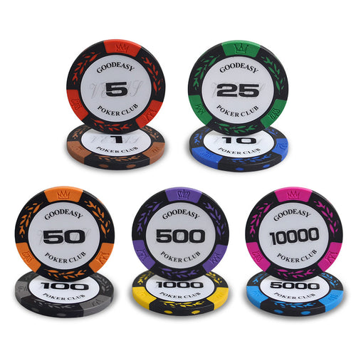 10pcs/pack Clay Crown Wheat Pattern Chips Poker Gambling Chips Texas Hold'em Baccarat Black Jack 21 Points Mahjong Casino Chips