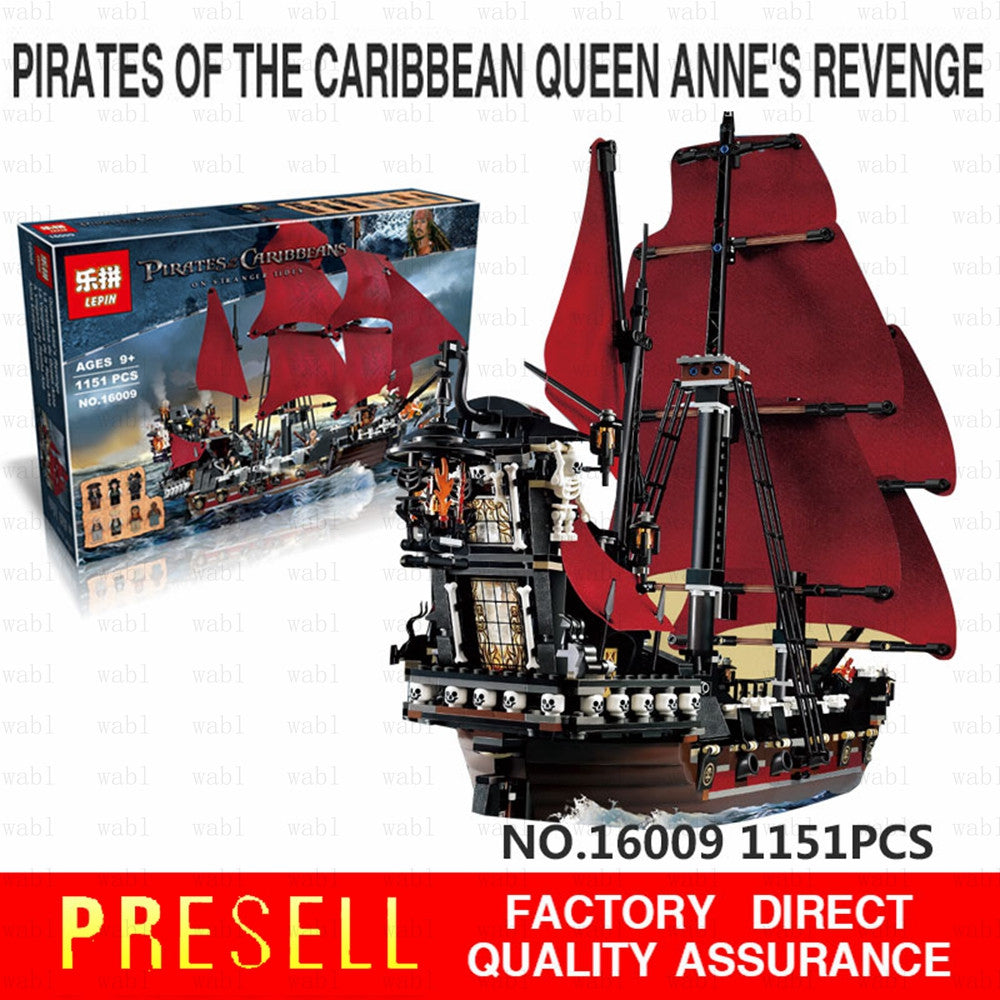 New LEPIN 16009 1151Pcs Pirates Of The Caribbean Queen Anne's Reveage Model Building Kits Blocks Brick Toys Gift 4195