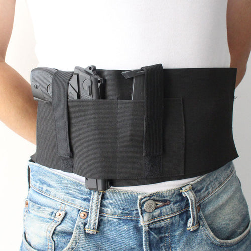 Tactical Adjustable Elastic Belly Band Hoster Waist Pistol Gun Holster for Concealed Carry with Magazine Pocket Fit up to 46