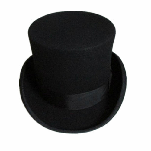 13.5cm Height Black Red Gray Wool Top Hat Men Women Chapeau Fedora Magician Felt Vintage Party Church Hats S M L XL