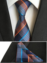 top mens fashion ties pocket square tie set men neckties business polyester silk tie handkerchief pink plaids neck T001
