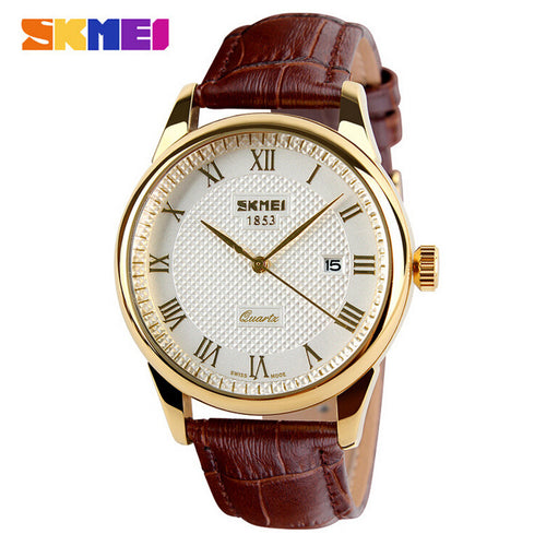 Mens Watches Top Brand Luxury Quartz Watch Fashion Genuine Leather Brand 30m Waterproof Casual Dress Wristwatches reloj hombre