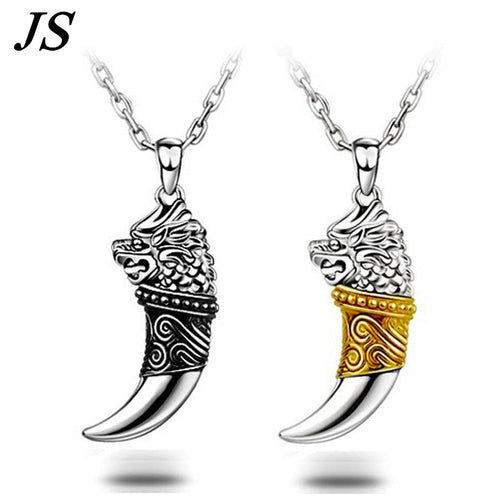 JS 2016 Vintage Wolf Fang Necklace Silver Nacklace Tribal Teen Wolf Neckless Colar Viking Pendant Mens Jewlery SN018