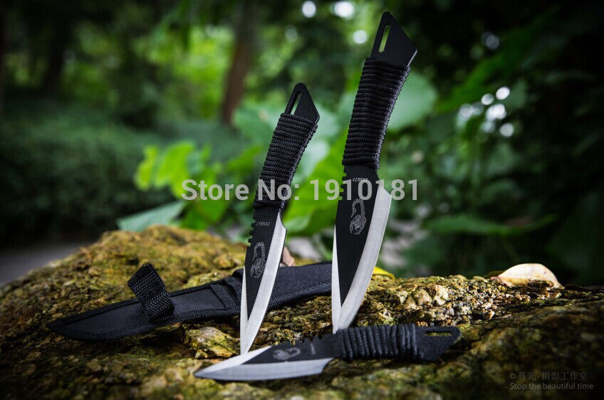 (3pcs in 1Sets) !! Hunting Knives Outdoor camping Survival Knife 440C Stainless Steel Sheath knife fixed balde knife daving