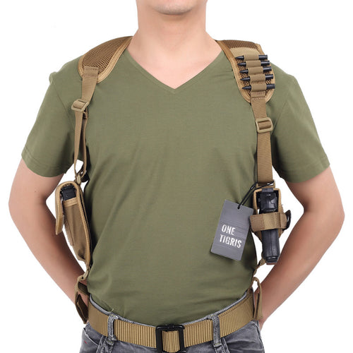 OneTigris Adjustable Tactical Shoulder Holster Military Pistol Gun Holster & Magazine Pouch for Right Hand Shooters