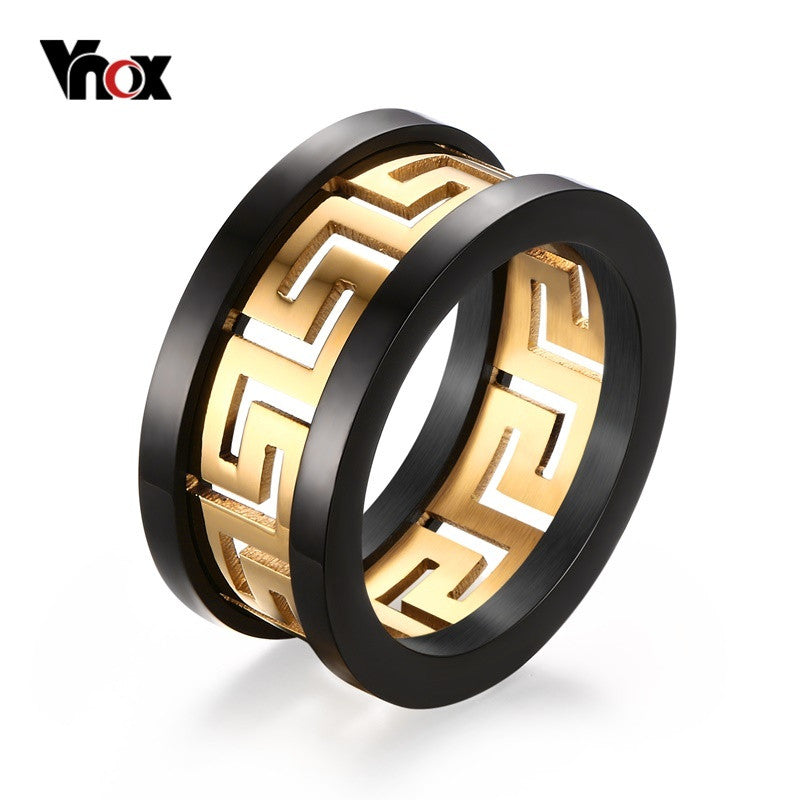 2016 Men's Hollow Ring Gold Plated Greek Key Design Fashion Titanium Steel Party Jewelry Vnox R-170