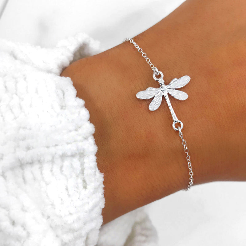 DRAGONFLY Simple Everyday Nature Charm Bracelet (Sterling Silver, Gold, Rose Gold)