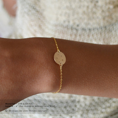 STELLAR Zodiac Astrology Constellation Disk Bracelet (Sterling Silver, Gold)