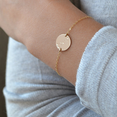 STELLAR Zodiac Astrology Constellation Disk Charm Bracelet (Sterling Silver, Gold, Rose Gold)