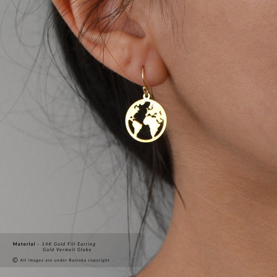 JET World Map Globe Earrings (Sterling Silver, Gold)