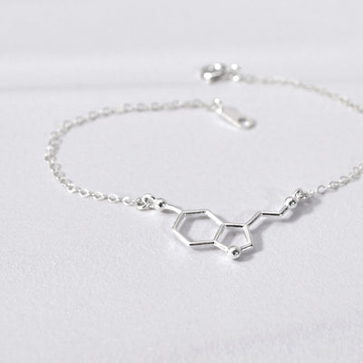 SEROTONIN Science, Chemistry, Molecular Charm Necklace (Sterling Silver, Gold, Rose Gold)