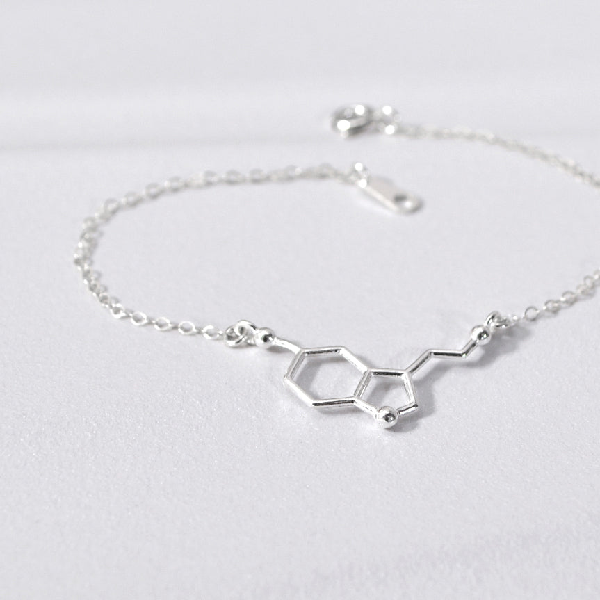 SEROTONIN Science, Chemistry, Molecular Necklace (Sterling Silver, Gold, Rose Gold)