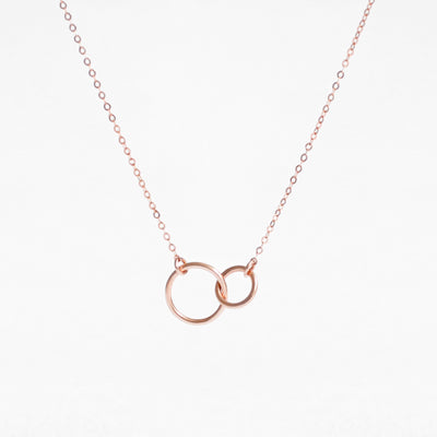 PAIGE Two Linked Circles Necklace, Eternity Necklace, Karma Necklace (Sterling Silver, Gold)