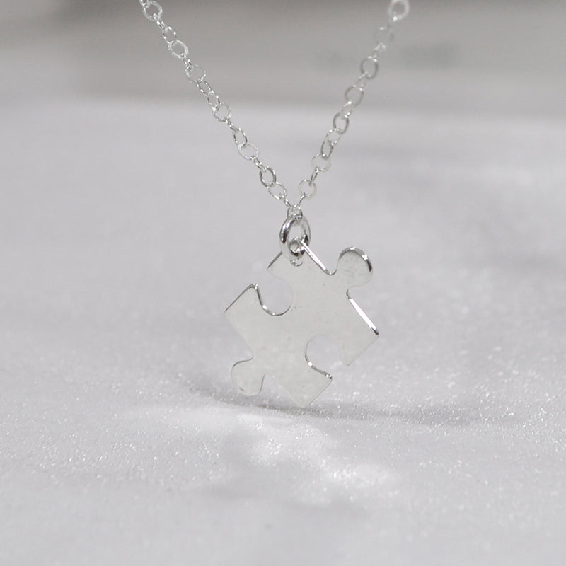 TYRA Jigsaw Puzzle Piece Charm Necklace (Sterling Silver, Gold, Rose Gold)