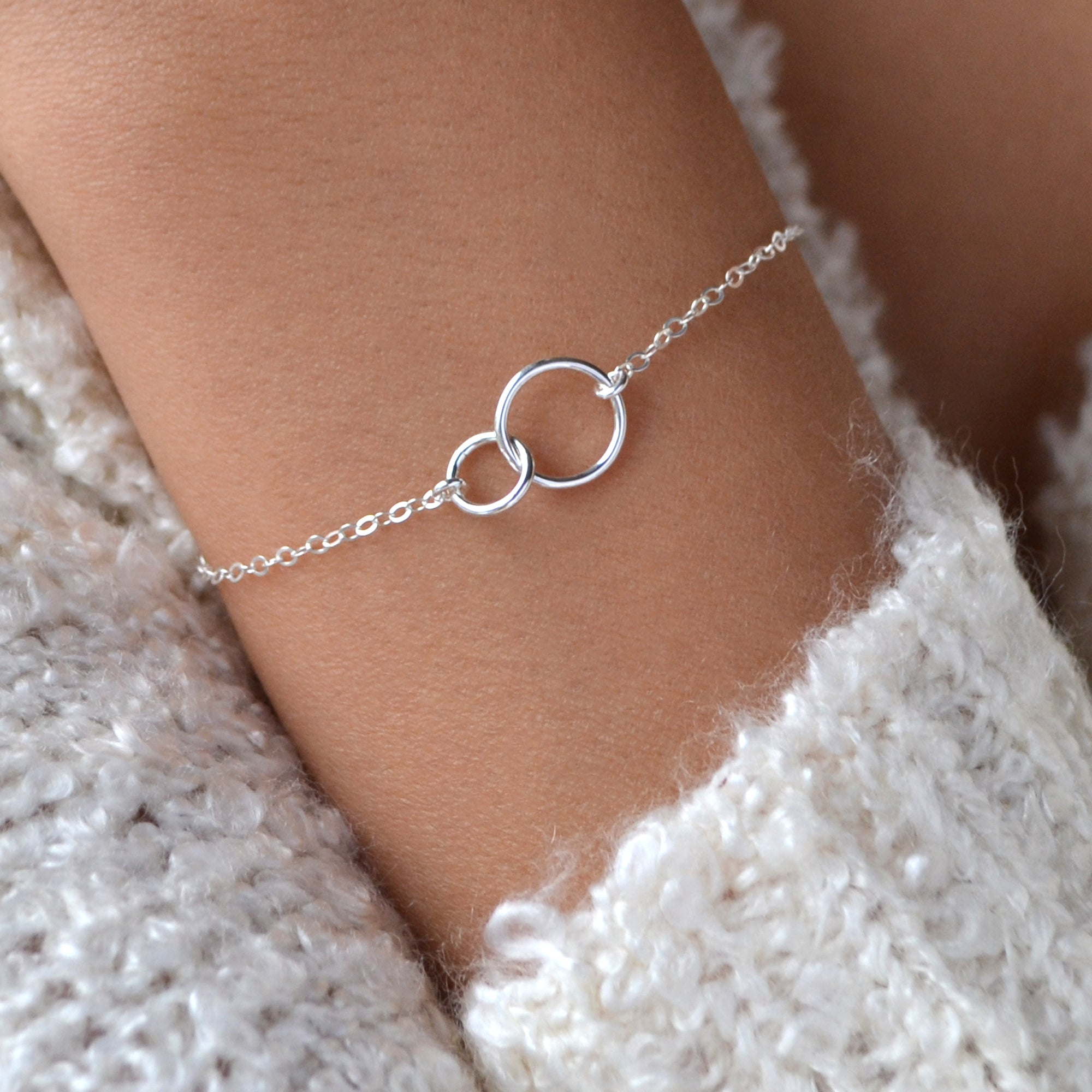 PAIGE Two Linked Circles Eternity Bracelet, Karma Charm Bracelet (Sterling Silver, Gold, Rose Gold)