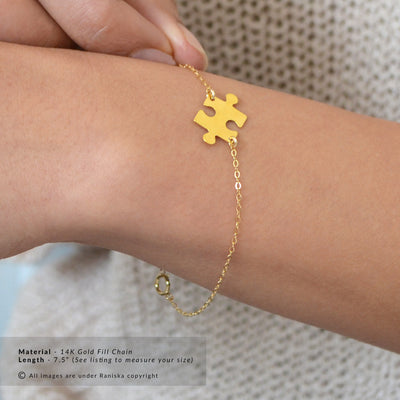TYRA Sterling Silver Jigsaw Puzzle Piece Charm Bracelet (Sterling Silver, Gold, Rose Gold)