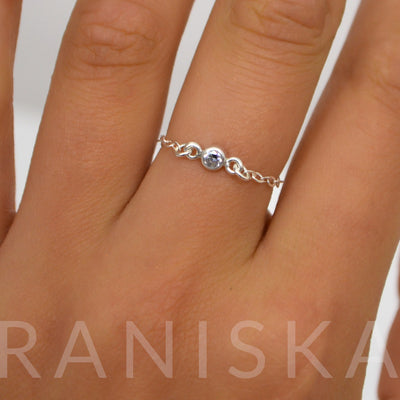 JASMINE Simple Mini Diamond Cubic Zirconia Chain Ring (Sterling Silver)