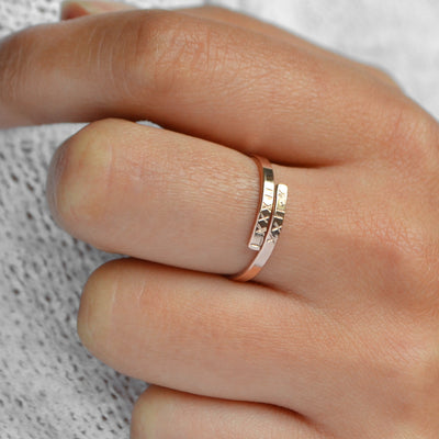 SONYA Personalized Minimalist Stacking Hug Ring (Sterling Silver, Gold, Rose Gold)