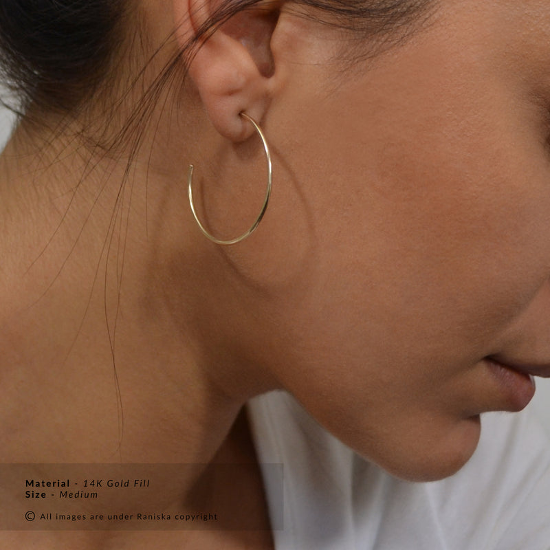 CELESTE Delicate Dainty Hoop Earrings (Sterling Silver, Gold, Rose Gold)