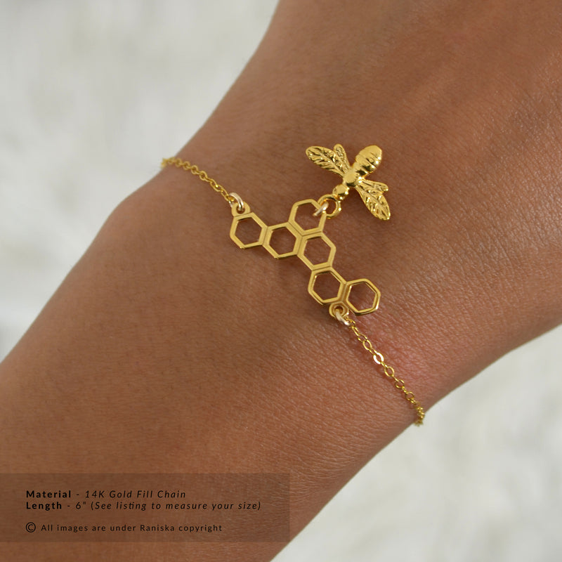 HONEY Honey Bee & Honeycomb Charm Bracelet (Sterling Silver, Gold, Rose Gold)