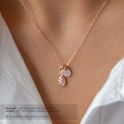 TROPICAL Pineapple Personalized Initial Charm Necklace (Sterling Silver, Gold, Rose Gold)