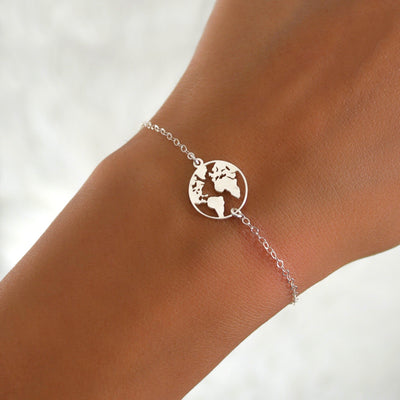 JET World Map Globe Bracelet (Sterling Silver, Gold)
