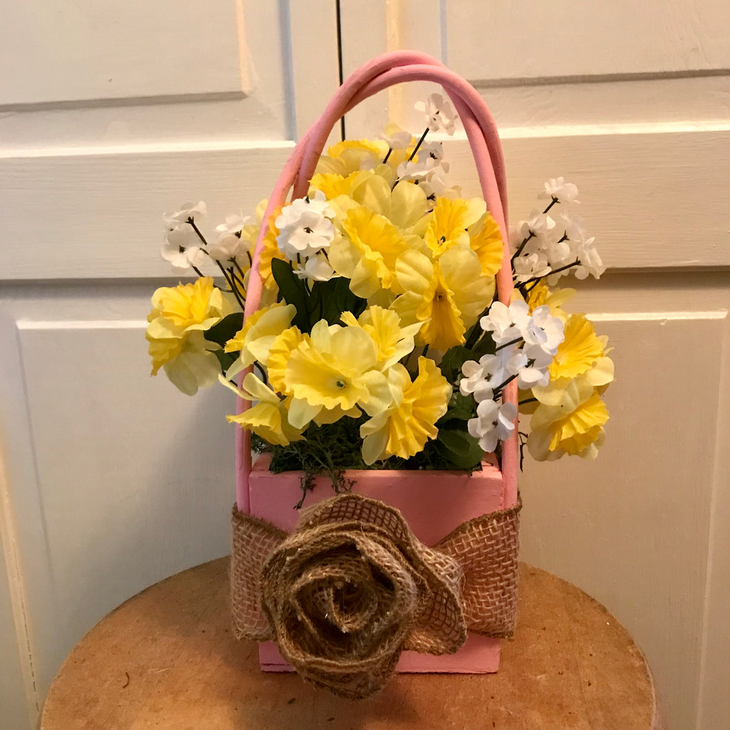 Square Basket Floral Arrangements - She Shed Home Decor