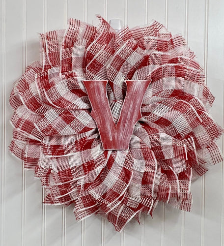 Custom fabric Mesh Letter Wreath
