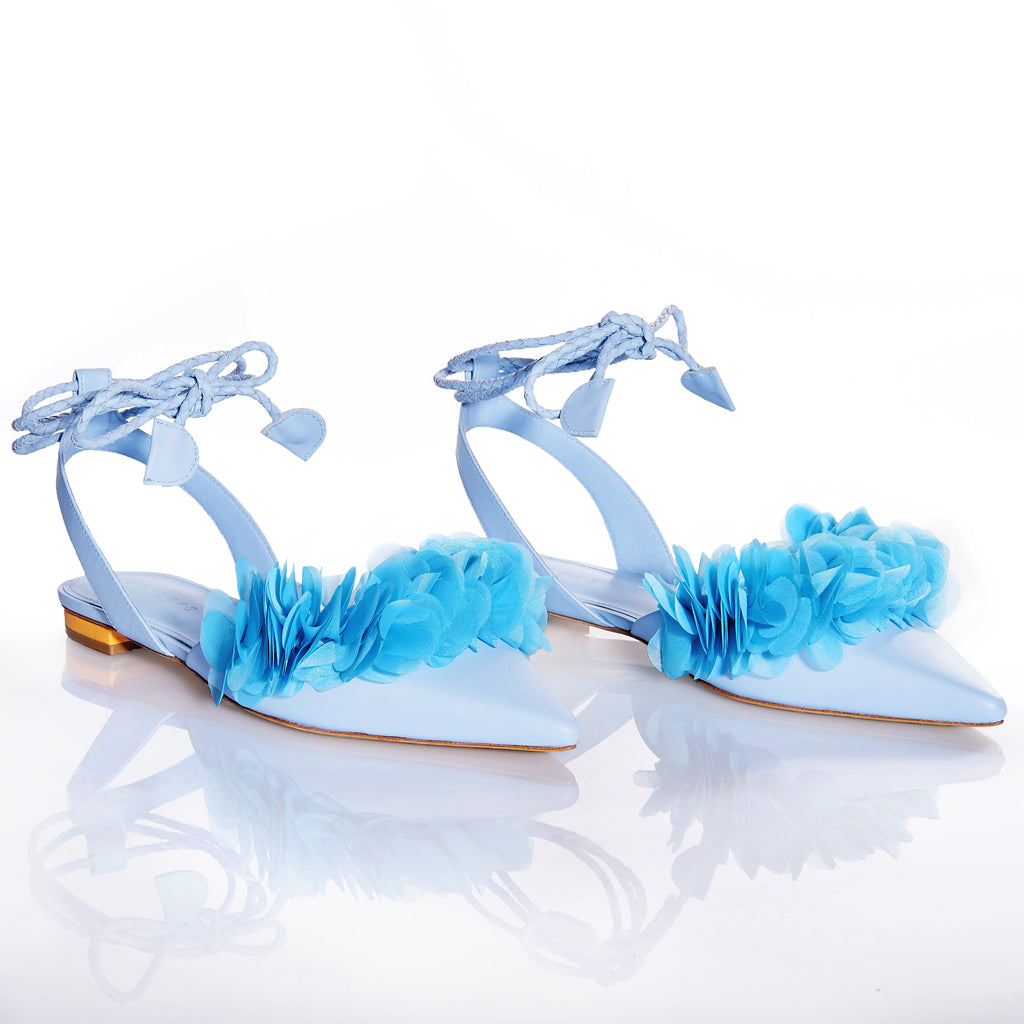 FRIDA LIGHT BLUE Leather handmade sandals