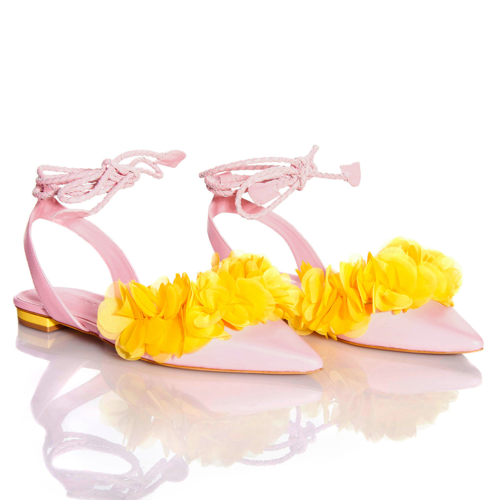 FRIDA PINK YELLOW Leather handmade sandals