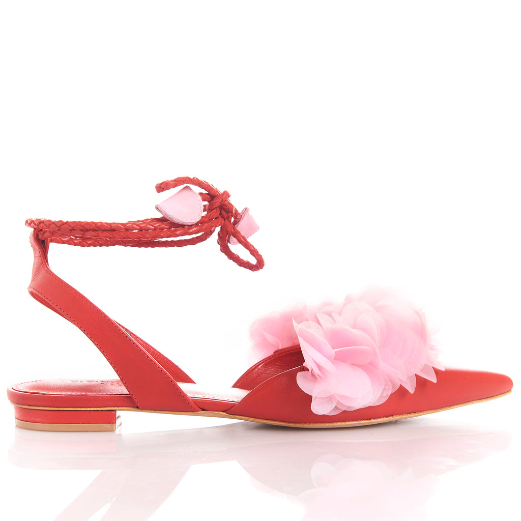 FRIDA RED FLAMINGO Leather handmade sandals
